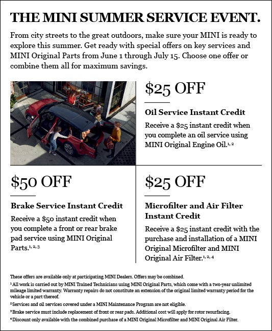 The Mini Summer Service Event Mini Of Morristown Specials